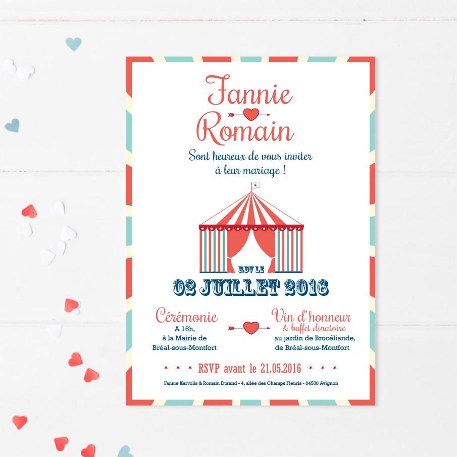 Faire-part mariage cirque
