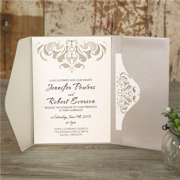Faire-part pochette | pochette verticale, invitation mariage