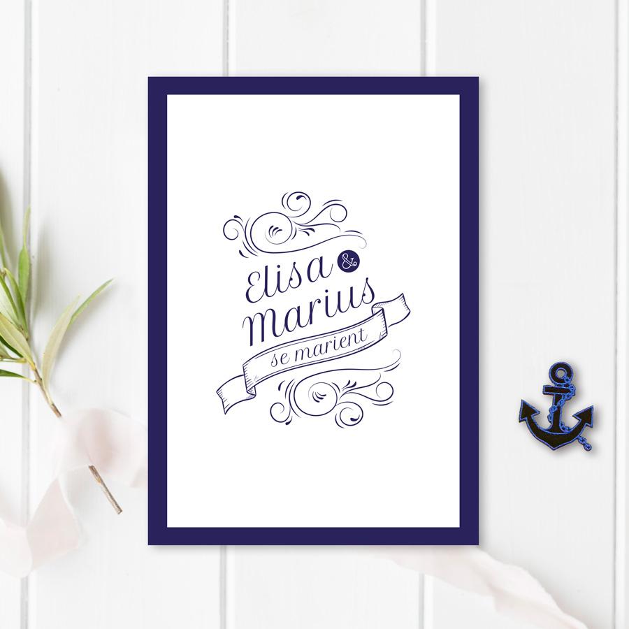 Faire-part mariage élégant, bleu marine