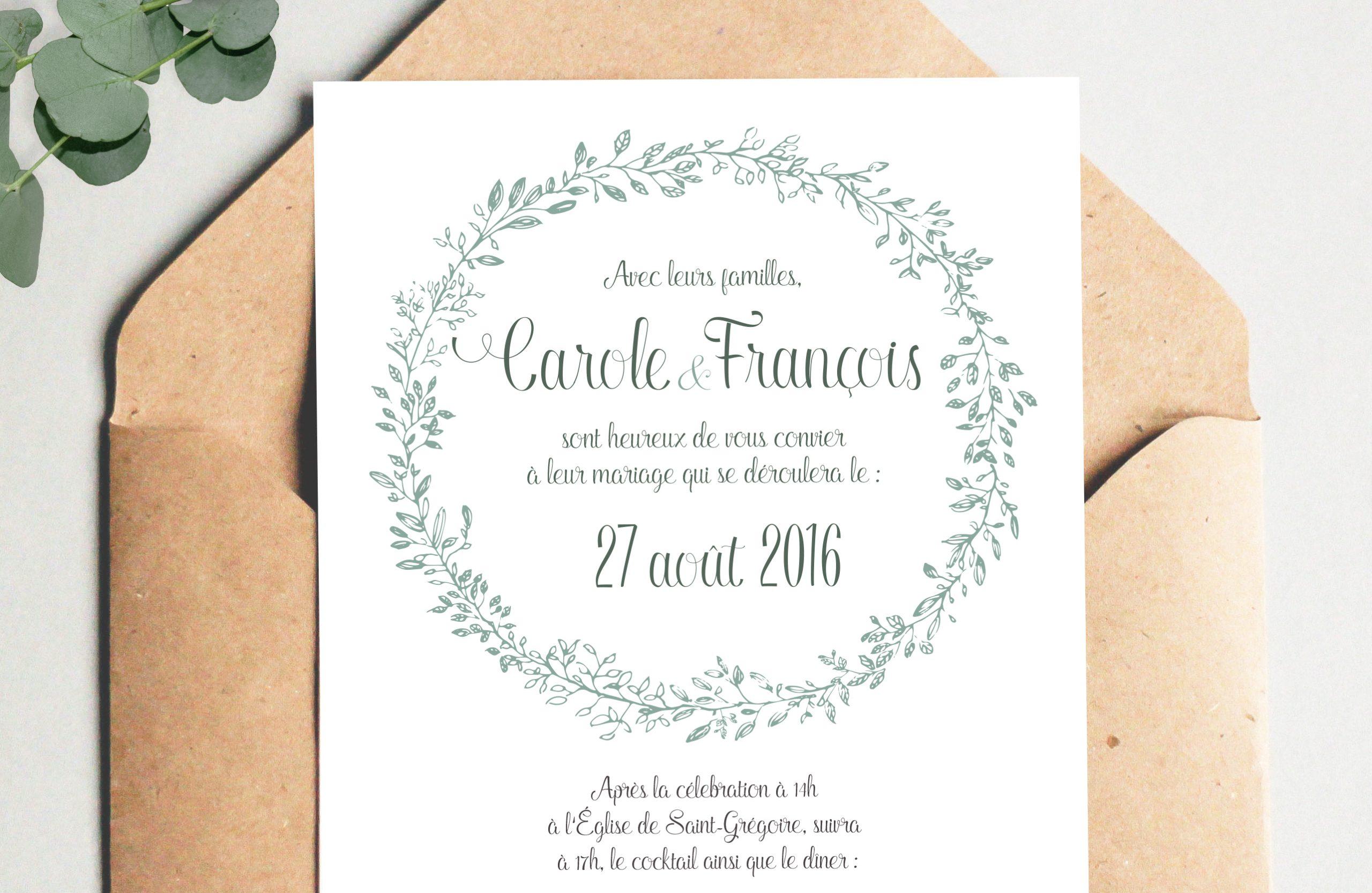 Faire-part champetre, mariage champetre