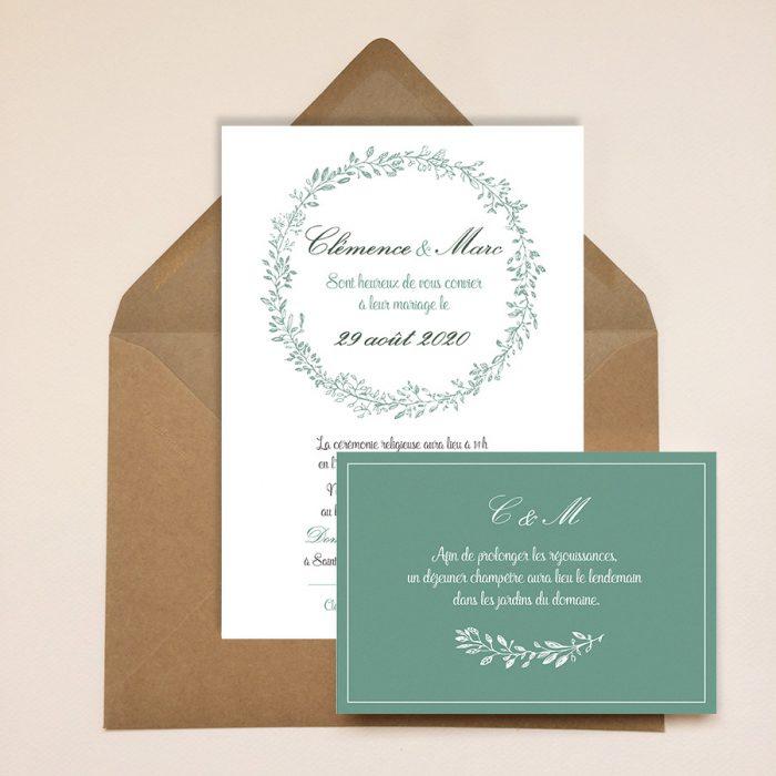 Faire-part mariage champêtre chic, vert eucalyptus