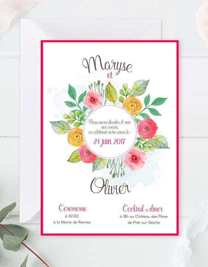 Faire part mariage fleur