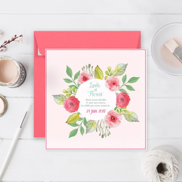 Faire-part mariage fleurs