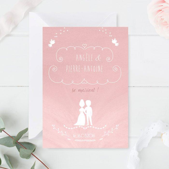 Faire-part mariage romantique, rose