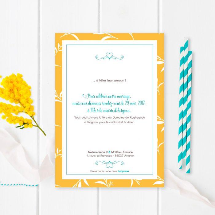 Faire-part mariage jaune, provençal