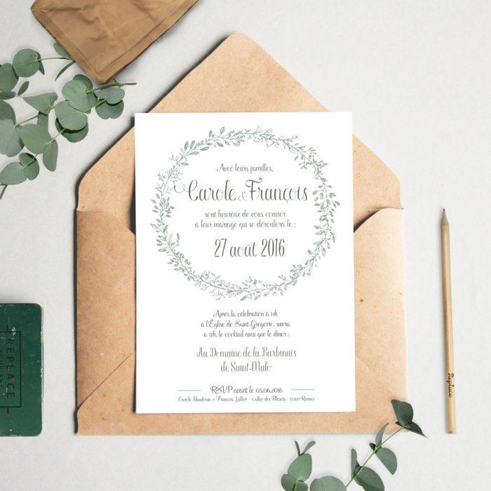Faire part de mariage champêtre, végétal