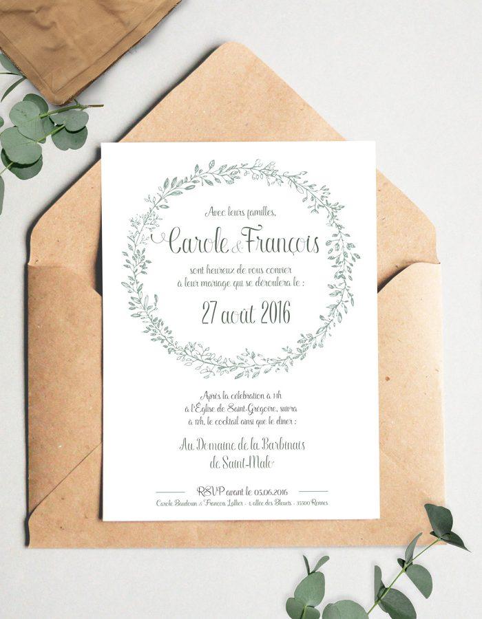 Bien-aimé Faire-part mariage champetre & végétal très tendance. WZ85