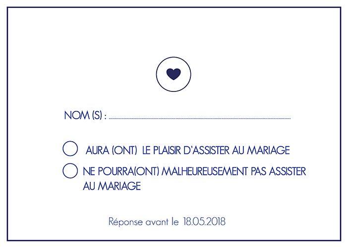 Carte réponse invitation mariage