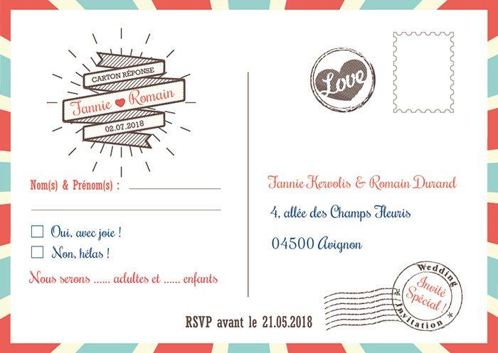 Carton dréponse invitation mariage / Thème mariage cirque