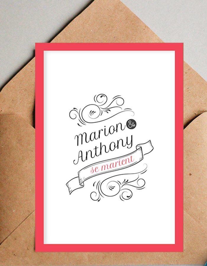 Faire part mariage moderne, couleur rouge