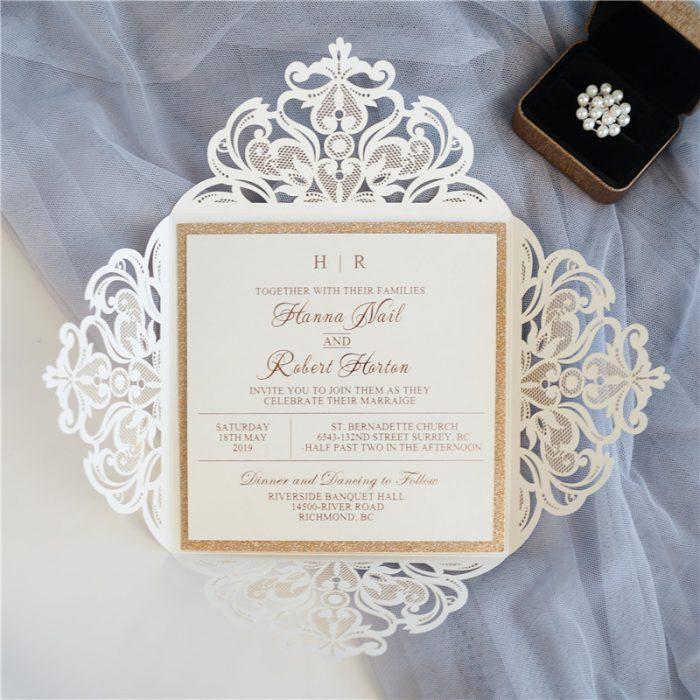 Elegant-Faire-Part-Mariage, ciselé dentelle
