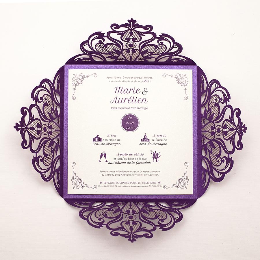 Faire-part violet, mariage violet