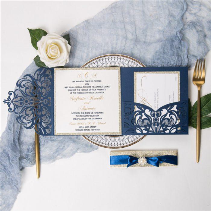 Faire part bleu, mariage