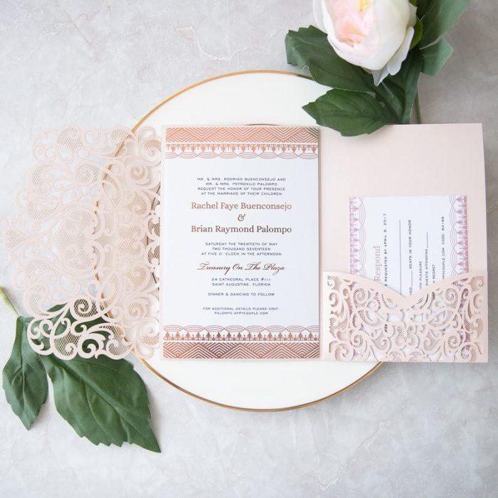 Faire-part mariage rose gold