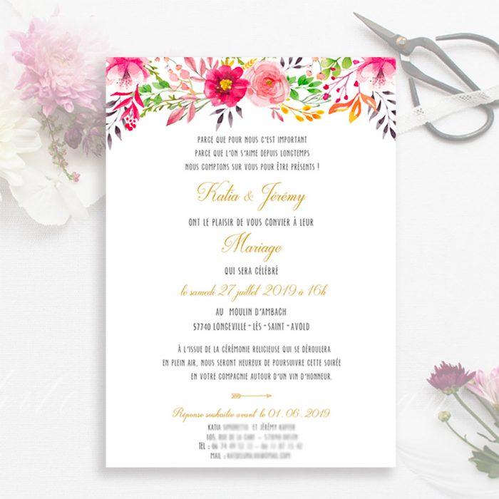 Faire part de mariage bohème chic, fleurs