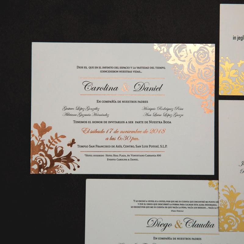 Invitation mariage dorure