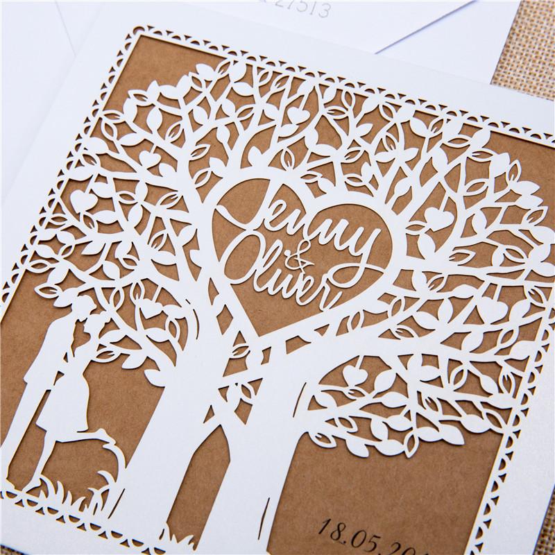 Faire-part mariage arbre kraft