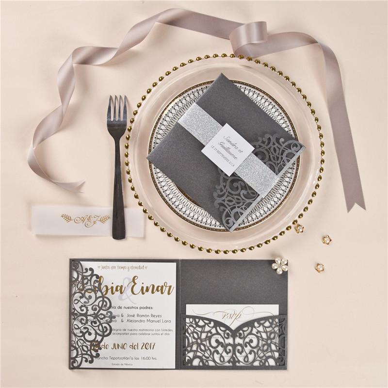 Faire-part mariage gris argenté