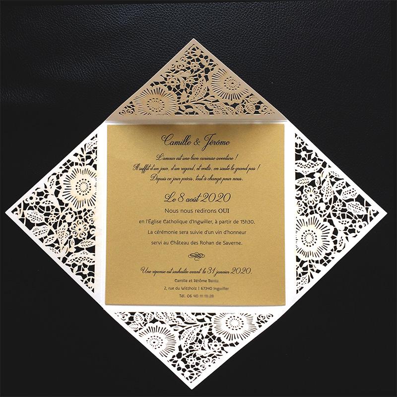 Faire-part de mariage oriental, invitation dorée