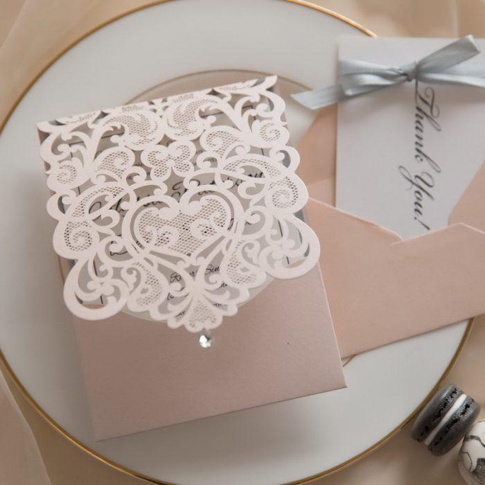 Faire-part mariage rose dentelle