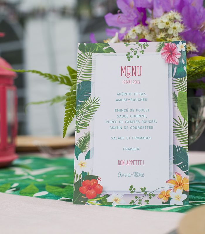 Menu anniversaire tropical