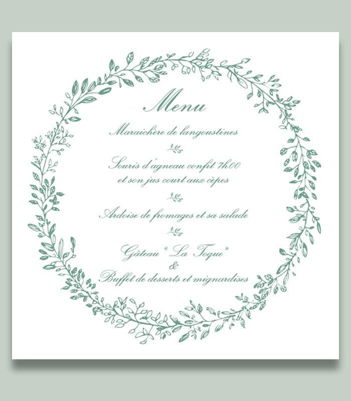 Carte menu mariage chic n°3