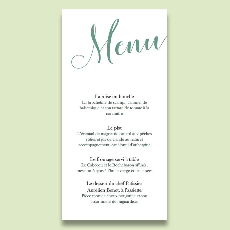Menu mariage champêtre, vert eucalyptus