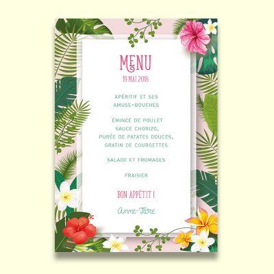 Carte menu mariage exotique