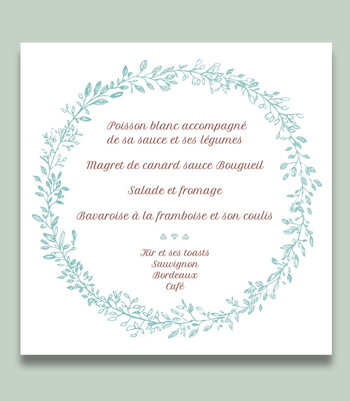 Menu mariage simple