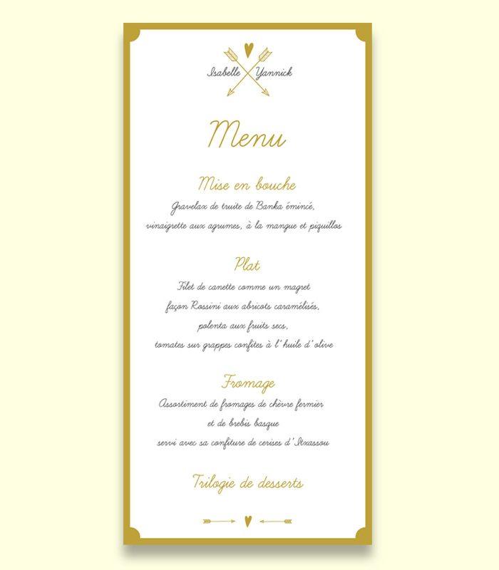 Carte menu mariage