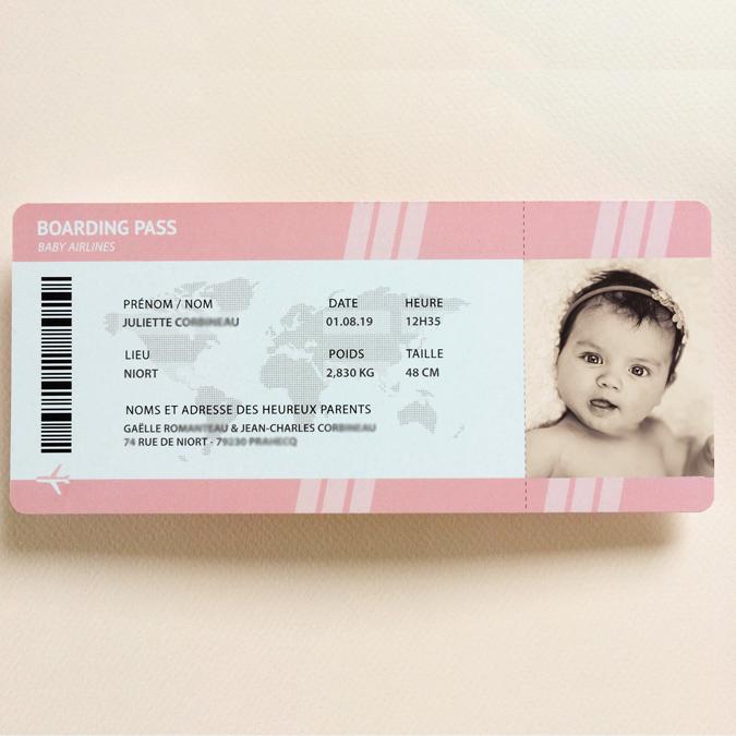 Faire-part de naissance billet d'avion