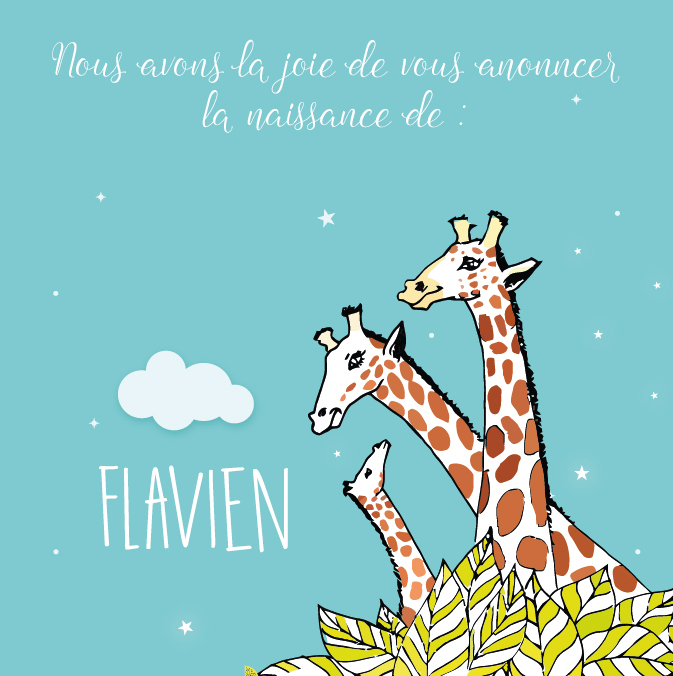 Faire-part de naissance garçon original, thème animaux, girafe, savane