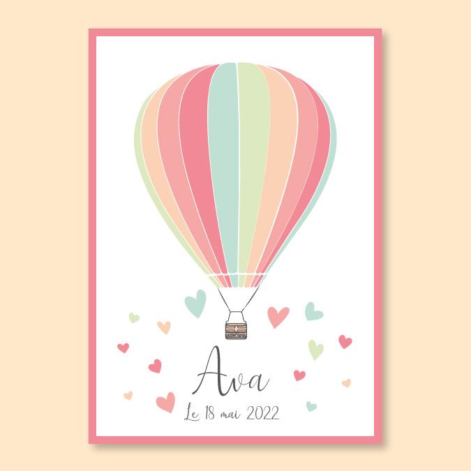Faire-part de naissance montgolfière
