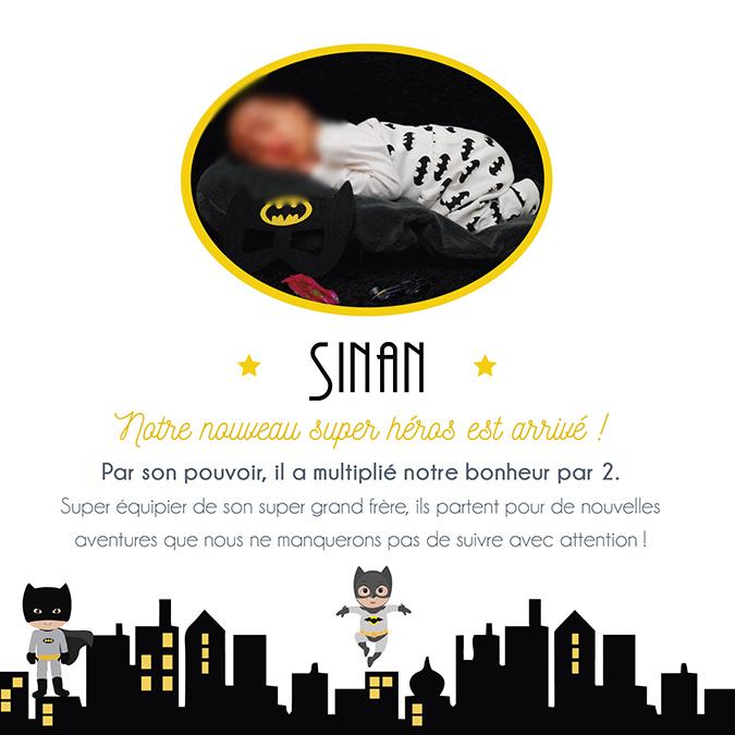 Faire-part de naissance original, batman, super héros