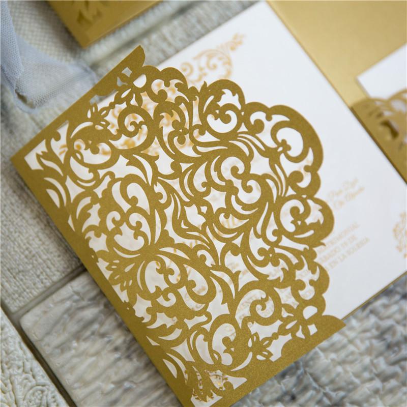 Faire-part mariage arabesque or