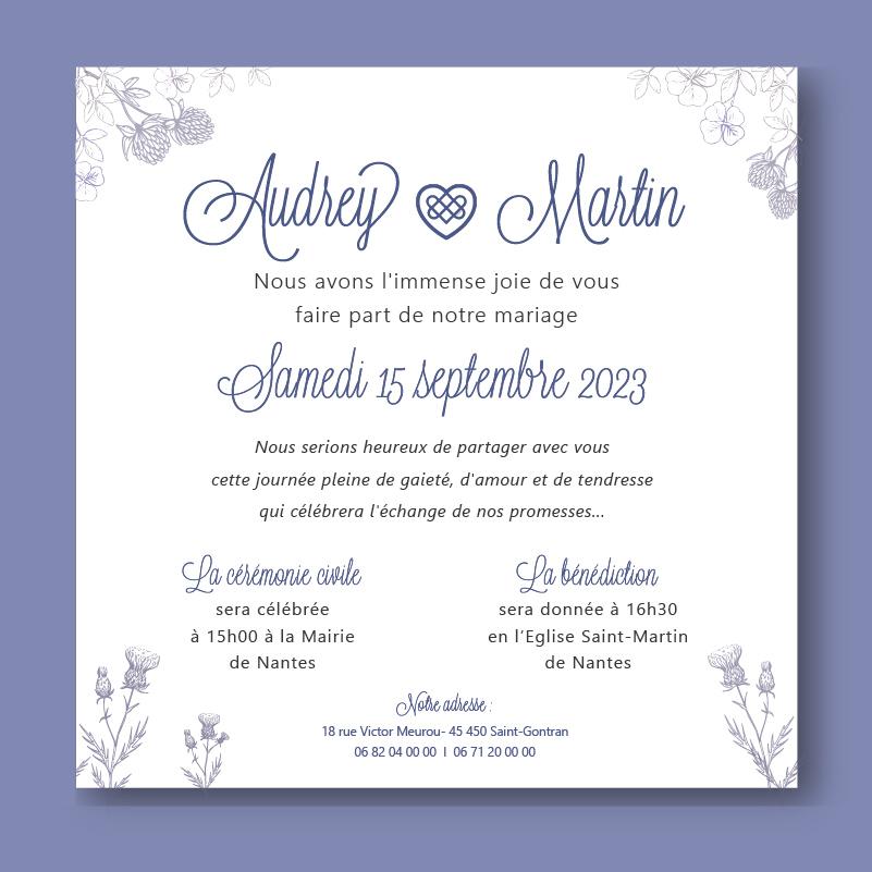 Faire-part mariage violet, celtique